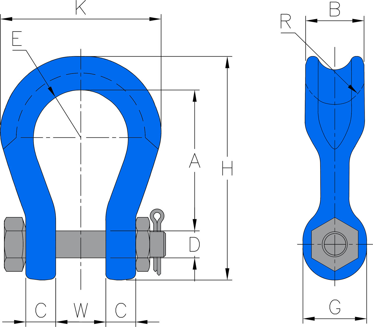 Shackle Wide Body 8-809 measurements